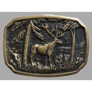 Vintage solid brass elk belt buckle